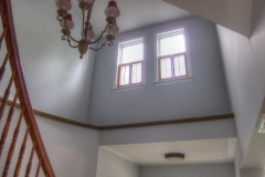 Stairwell painted in Benjamin Moore Gray Cloud